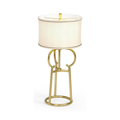 Jonathan Charles Fusion Contemporary Antique Satin Gold Brass Table Lamp