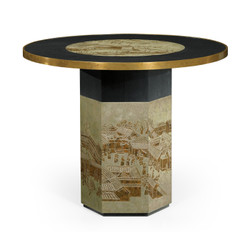 Jonathan Charles Fusion Round Chinoiserie Style Antique Etched Brass & Ebonised Oak Centre Table