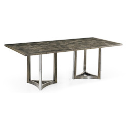 "Jonathan Charles Gatsby 84"" Contemporary Art Deco Rectangular Grey Natural Eucalyptus & Stainless Steel Dining Table With Random Cut Top"