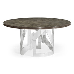 "Jonathan Charles Gatsby 60"" Contemporary Art Deco Round Grey Natural Eucalyptus & Stainless Steel Dining Table With Random Cut Top"