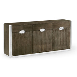 Jonathan Charles Gatsby Contemporary Art Deco Dark Grey Walnut Credenza