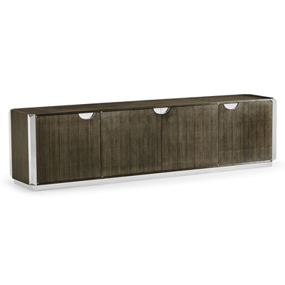 Jonathan Charles Gatsby Contemporary Art Deco Dark Grey Walnut & Stainless Steel Entertainment Unit