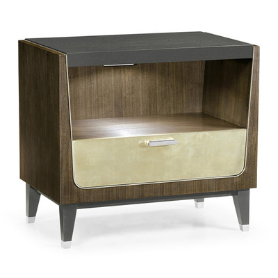 Jonathan Charles Gatsby Contemporary Art Deco Dark Grey Walnut & Champagne Silver-Leaf Bedside Cabinet