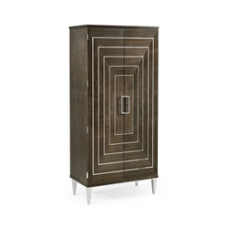 Jonathan Charles Gatsby Contemporary Art Deco Dark Grey Walnut & Stainless Steel Storage Cabinet