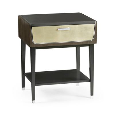 Jonathan Charles Gatsby Contemporary Art Deco Dark Grey Walnut & Champagne Silver-Leaf Bedside Table