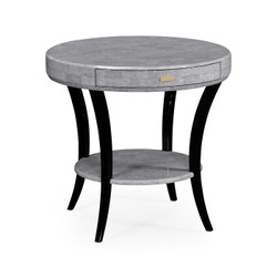 Jonathan Charles Indochine White Smoke Eggshell Round Side Table With Drawer