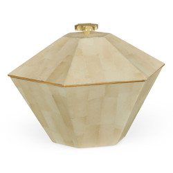 Jonathan Charles Indochine Dutch White Eggshell Hexagonal Box