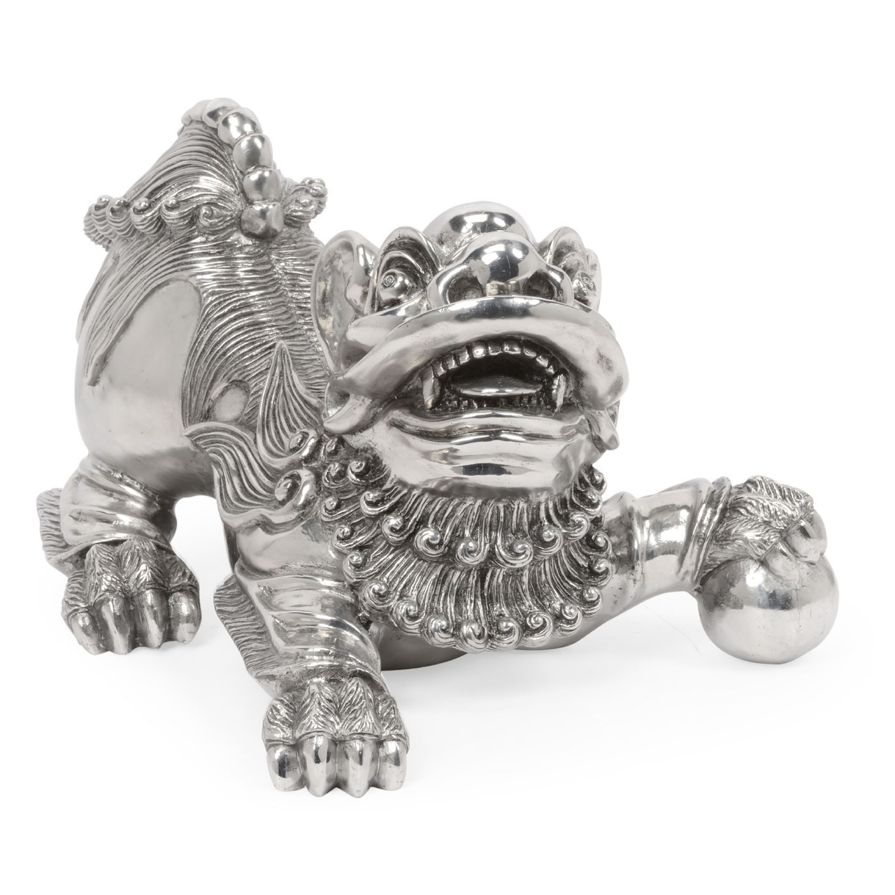 Jonathan Charles Indochine Antique Stainless Steel Foo Dog