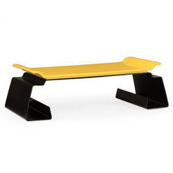 Jonathan Charles Indochine Asian Peking Yellow & Bronzed Iron Coffee Table