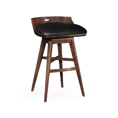 Jonathan Charles Langkawi Natural Walnut Bar Stool, Upholstered In Black Leather