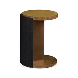 Jonathan Charles Langkawi Round Oak With Large Oyster Side Table