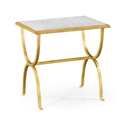 Jonathan Charles Luxe Églomisé & Gilded Iron Rectangular Side Table
