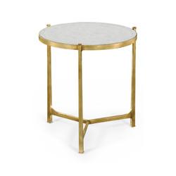 Jonathan Charles Luxe Large Églomisé & Gilded Iron Lamp Table