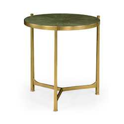 Jonathan Charles Luxe Large Green Round Faux Shagreen Gilded Side Table