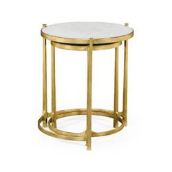 Jonathan Charles Luxe Églomisé & Gilded Iron Round Nest Of Tables