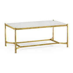 Jonathan Charles Luxe Églomisé & Gilded Iron Rectangular Coffee Table
