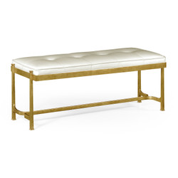 Jonathan Charles Luxe Gilded Iron & White Leather Bench