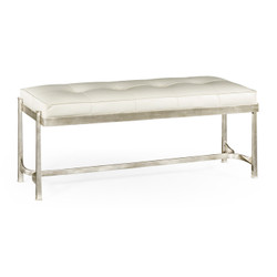 Jonathan Charles Luxe Silver Iron & White Leather Bench