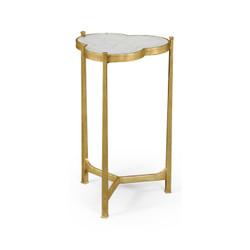 Jonathan Charles Luxe Églomisé & Gilded Iron Trefoil Lamp Table