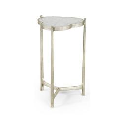 Jonathan Charles Luxe Églomisé & Silver Iron Trefoil Lamp Table