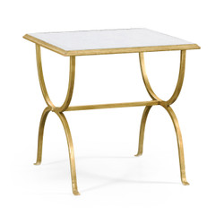 Jonathan Charles Luxe Églomisé & Gilded Iron Square Side Table