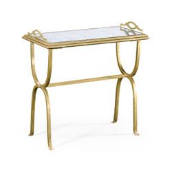 Jonathan Charles Luxe Églomisé & Gilded Iron Tray Table