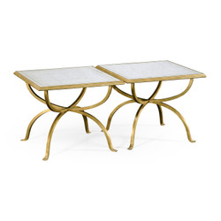 Jonathan Charles Luxe Églomisé & Gilded Iron Set Of Two Tables