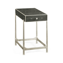 Jonathan Charles Luxe Anthracite Faux Shagreen & Silver Iron Side Table