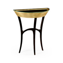 Jonathan Charles Luxe Stepped Gilded Demilune Console