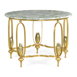 Jonathan Charles Luxe Gilded Centre Table With Green Marble Top