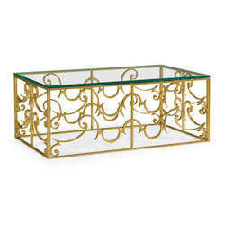 Jonathan Charles Luxe Rectangular Arabesque Gilded Iron Coffee Table With 20Mm Clear Glass Top