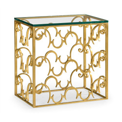 Jonathan Charles Luxe Rectangular Arabesque Gilded Iron End Table With 20Mm Clear Glass Top