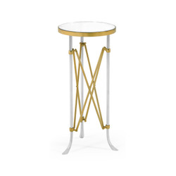 Jonathan Charles Luxe Small Round Antique Satin Gold Brass & Antique Glass Vanity Table