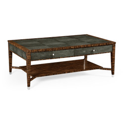 Jonathan Charles Metropolitan Faux Macassar Ebony & Anthracite Shagreen Coffee Table