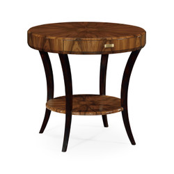 Jonathan Charles Santos Art Deco Satin Round Side Table With Drawer