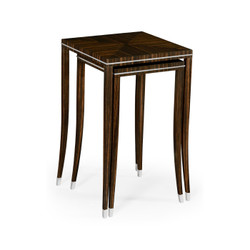 Jonathan Charles Soho Macassar Ebony Nesting Tables With White Brass Detail