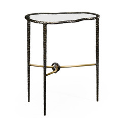 Jonathan Charles Stiletto Hammered Antique Black Brass Freeform Lamp Table