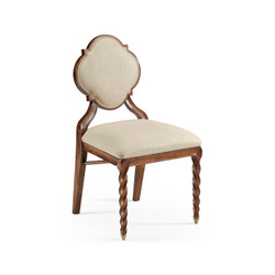 Jonathan Charles Twist Walnut Barleytwist Dining Side Chair, Upholstered In Mazo