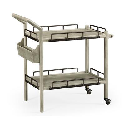Jonathan Charles Casually Country Rustic Grey Bar Cart