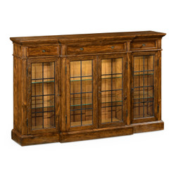 Jonathan Charles Casually Country Four Door China Display Cabinet In Country Walnut