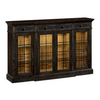 Jonathan Charles Casually Country Four Door China Display Cabinet In Dark Ale