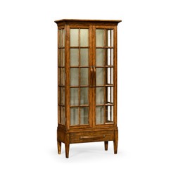 Jonathan Charles Casually Country Tall Country Walnut Plank Glazed Display Cabinet