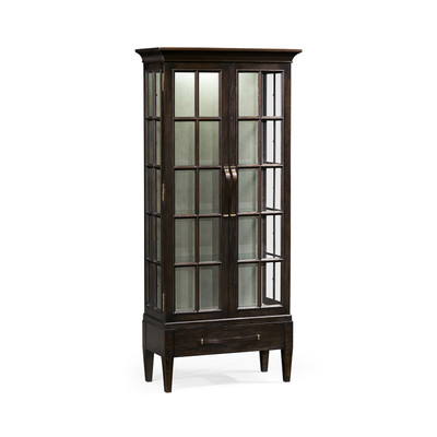 Jonathan Charles Casually Country Tall Dark Ale Plank Glazed Display Cabinet
