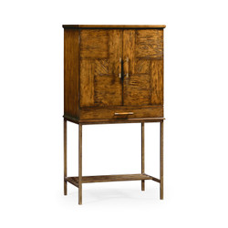 Jonathan Charles Casually Country Country Walnut Drinks Cabinet With Iron Base