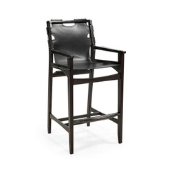 Jonathan Charles Architects House Midcentury Style Slung Black Leather & Black Mocha Oak Bar Stool