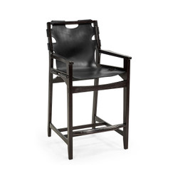 Jonathan Charles Architects House Midcentury Style Slung Black Leather & Black Mocha Oak Counter Stool