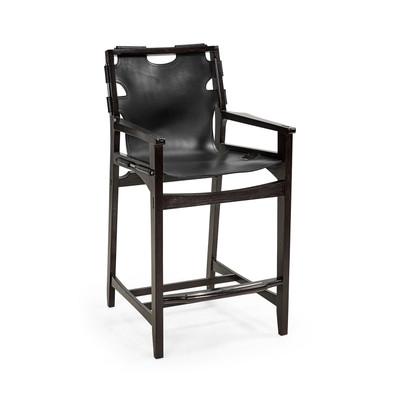 Jonathan Charles Architects House Midcentury Style Slung Black Leather & Black Mocha Oak Counter Stool