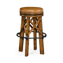 Jonathan Charles Casually Country Country Style Walnut & Iron Bar Stool With Antque Chestnut Leather