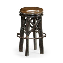 Jonathan Charles Casually Country Country Style Dark Ale & Iron Bar Stool With Antque Chestnut Leather