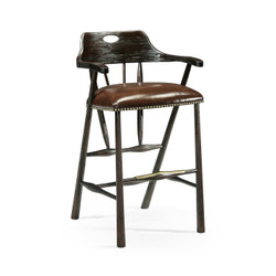 Jonathan Charles Casually Country Smokers Style Dark Ale Bar Stool With Dark Antique Chestnut Leather